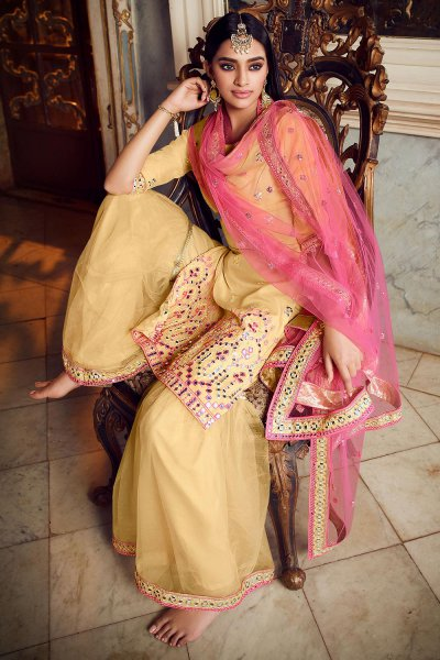 Silk Organza and Net Yellow Foil Mirror Embellished Sharara Suit