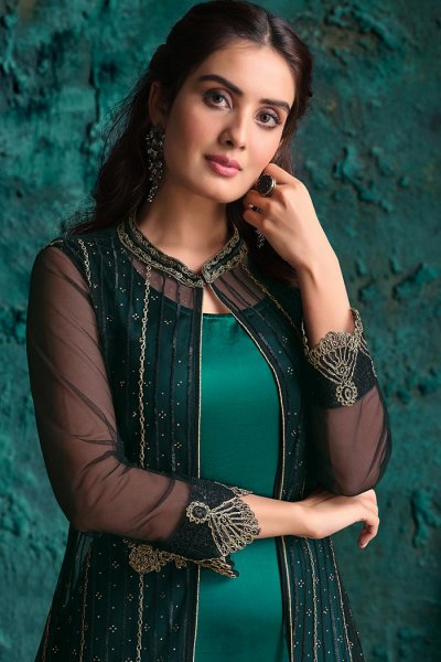 Green Black Zari Embroidered Party Wear Suit