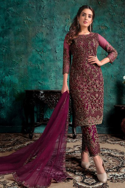 Wine Zari Embroidered Party Wear Suit
