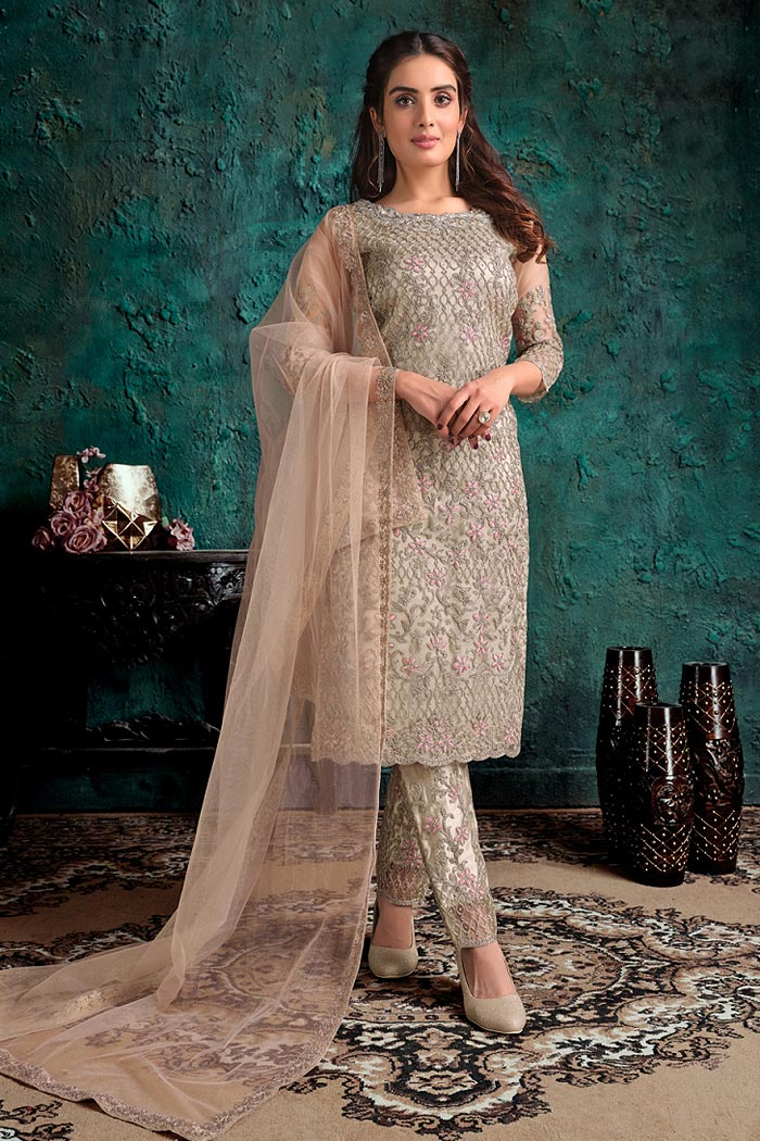 Beige Party Wear Suit with Floral Embroidery
