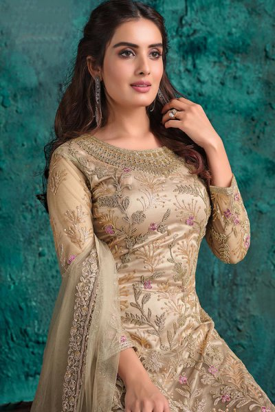Beige Party Wear Palazzo Suit with Floral Embroidery