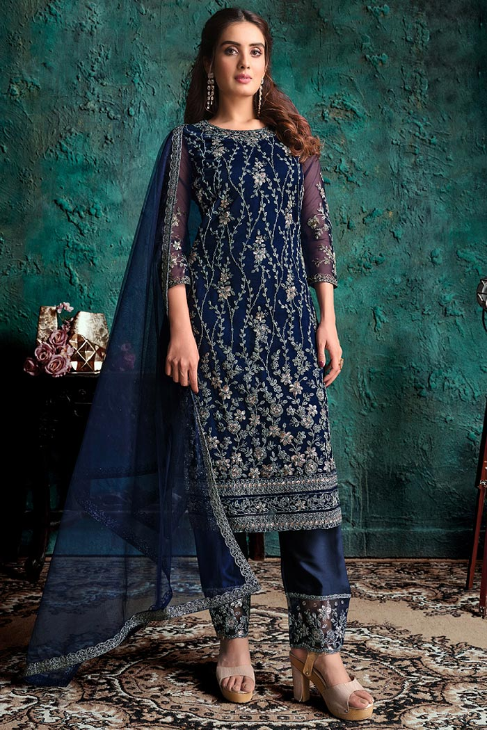 Navy Party Wear Suit with Floral Embroidery