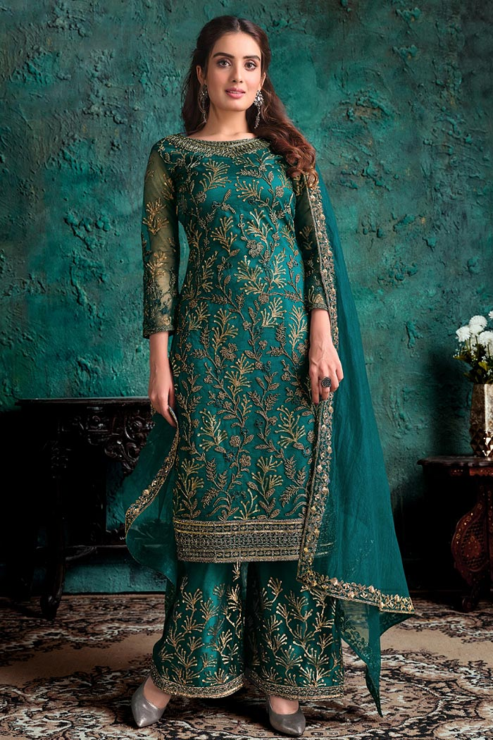 Peacock Green Embroidered Palazzo Suit with Sequins Work