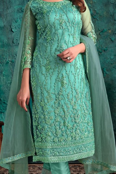 Mint Party Wear Suit with Embroidery