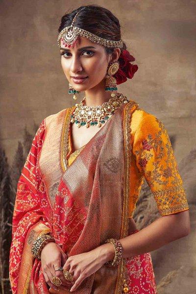 Beautiful Red Bandhani Silk Saree