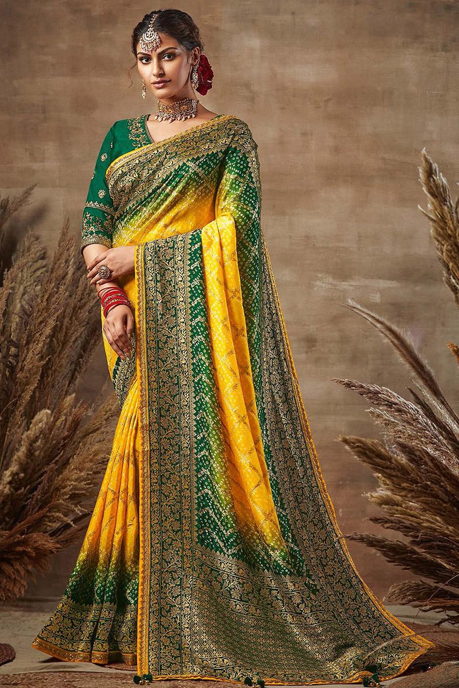 Yellow and Green Bandhani Silk Saree