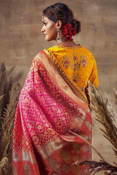 Beautiful Pink Bandhani Silk Saree