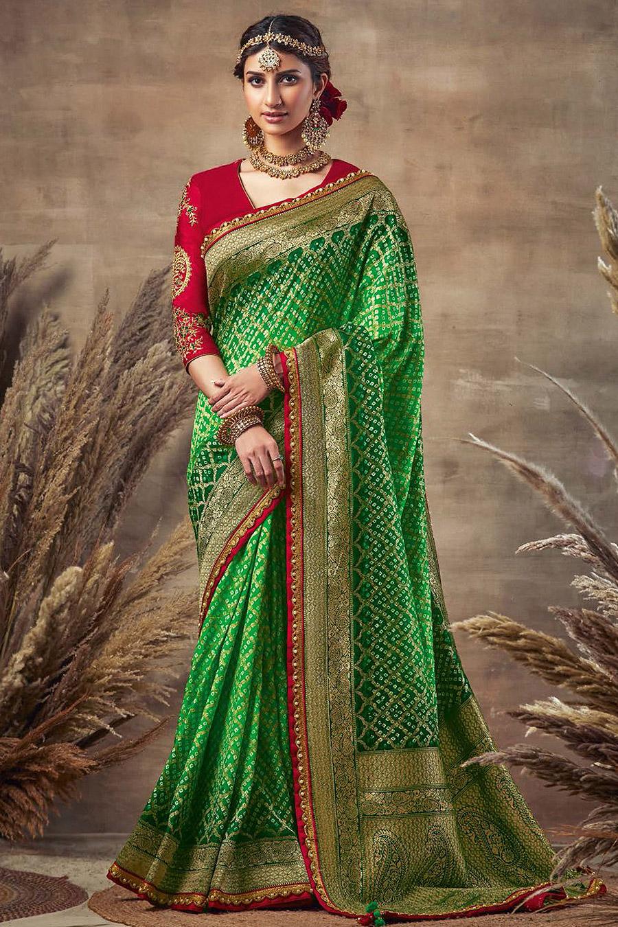 Beautiful Green Bandhani Silk Saree
