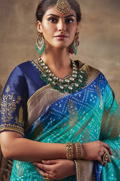 Beautiful Blue Bandhani Silk Saree