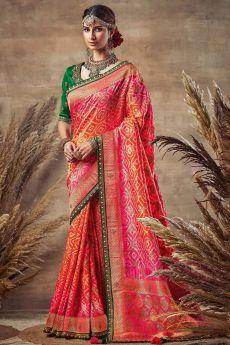 Orange and Pink Bandhani Silk Saree