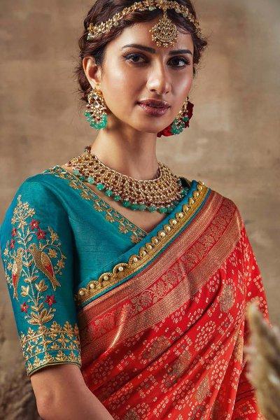 Beautiful Red Orange Bandhani Silk Saree