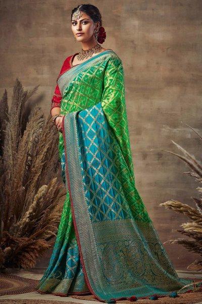 Blue and Green Bandhani Silk Saree