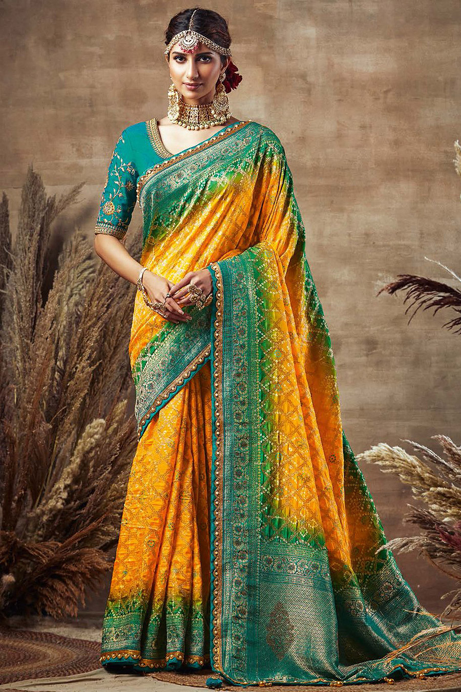 Yellow and Turquoise Bandhani Silk Saree