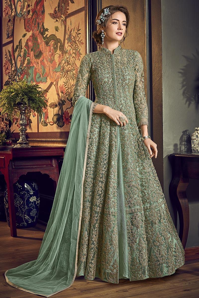 Net Embroidered Anarkali Suit