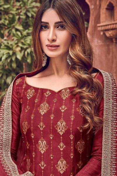 Maroon Jacquard Weaved Silk Palazzo Suit
