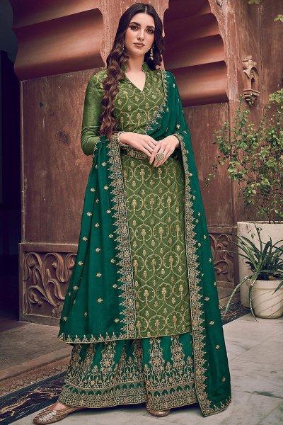 Green Jacquard Weaved Silk Palazzo Suit