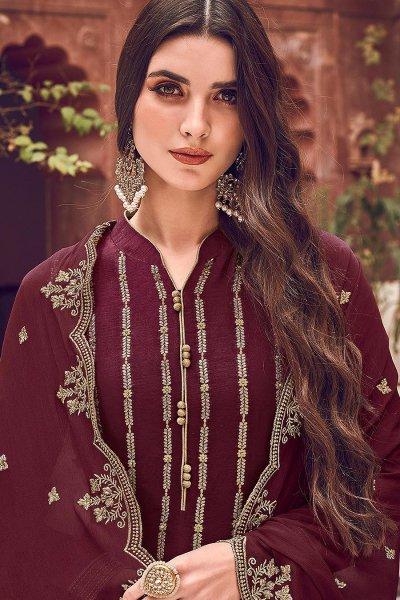 Plum Jacquard Weaved Silk Palazzo Suit