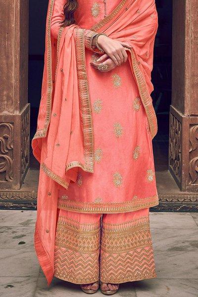 Peach Jacquard Weaved Silk Palazzo Suit