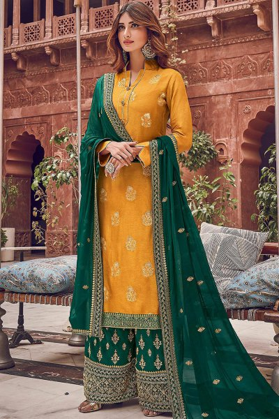 Mustard and Green Jacquard Weaved Silk Palazzo Suit
