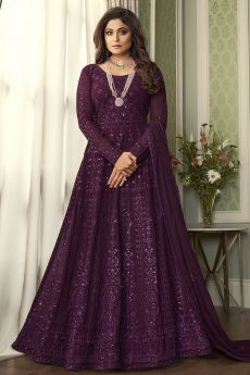 Plum Embroidered Anarkali Suit
