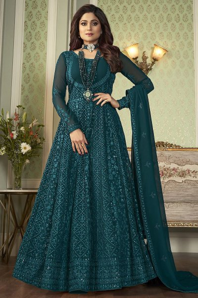 Teal Blue Embroidered Anarkali Suit