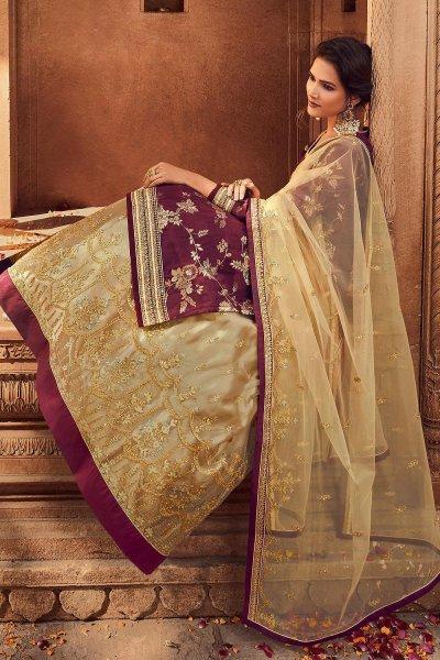 Maroon Silk Straight Cut Kurta with Beige Net Embroidered Lehenga