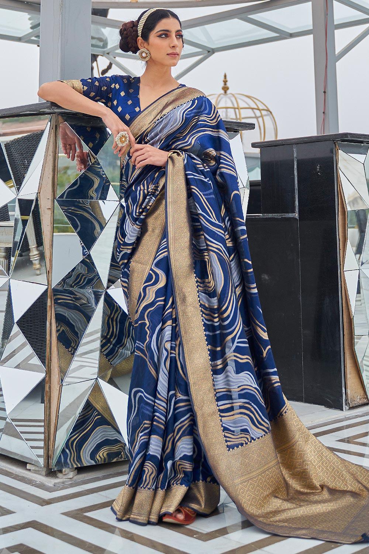 Blue Silk Weaved Saree