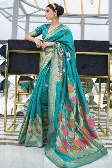 Teal Green Silk Weaved Saree