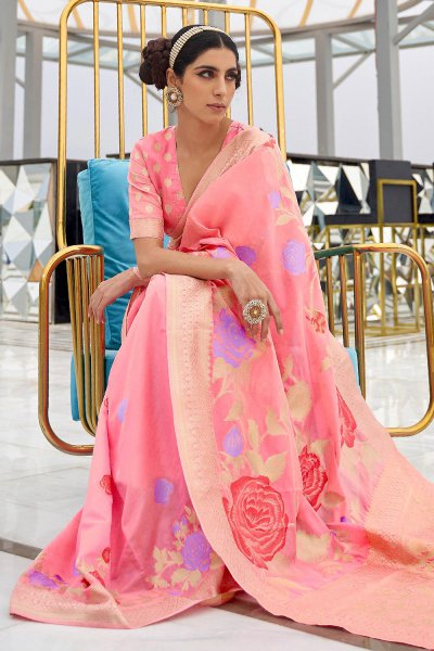 Peach Silk Weaved Saree