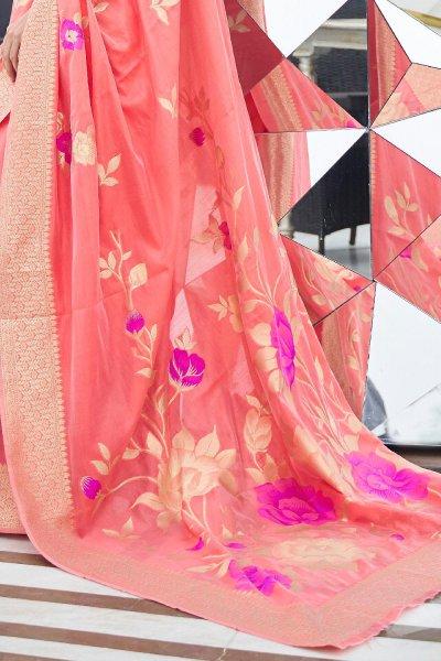 Orange Silk Weaved Saree