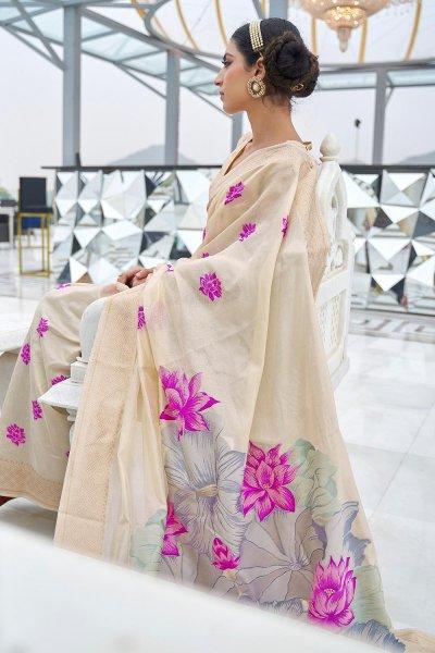 Off White Silk Weaved Saree