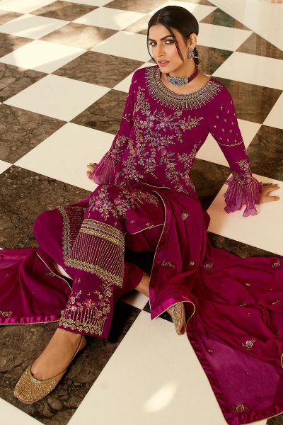 Magenta Pure Georgette Embroidered Palazzo Suit
