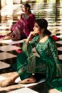 Bottle Green Pure Georgette Embroidered Palazzo Suit
