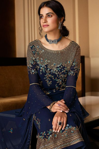 Navy Blue Pure Georgette Embroidered Palazzo Suit