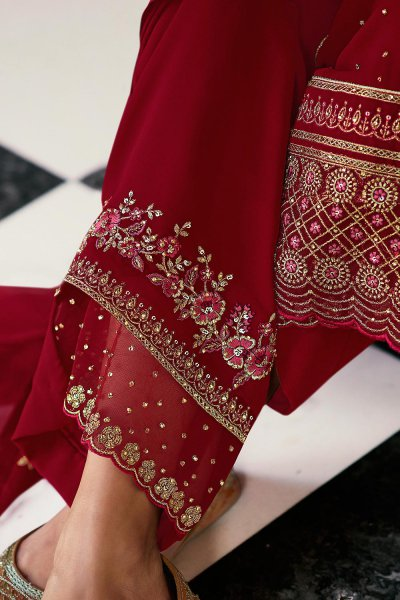 Crimson Red Pure Georgette Embroidered Palazzo Suit