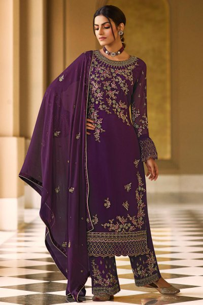Plum Pure Georgette Embroidered Palazzo Suit