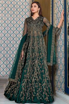 Bottle Green Zari Embroidered Party Wear Anarkali with Lehenga/Pant