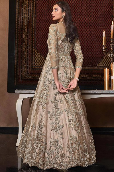 Beige Zari Embroidered Party Wear Anarkali Suit