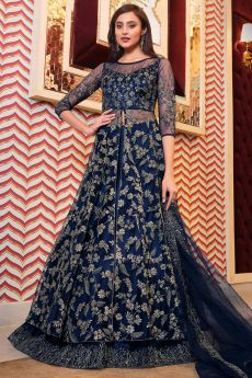 Navy Blue Zari Embroidered Party Wear Anarkali with Lehenga