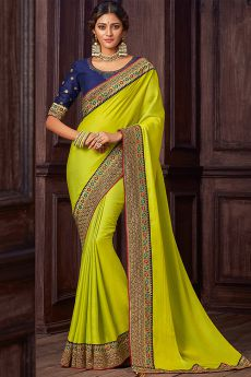 Lime Green Silk Saree With Navy Blue Blouse