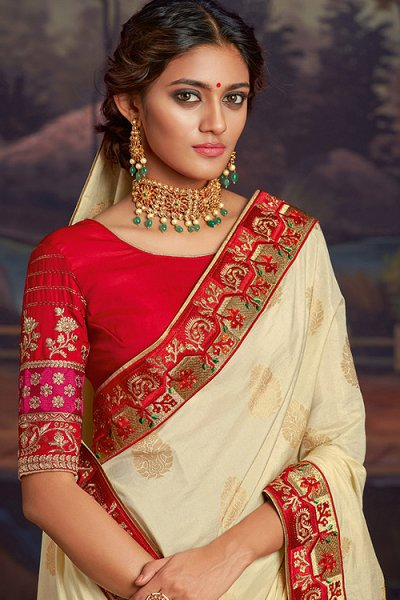 Ivory Silk Saree With Red Zari Work Blouse