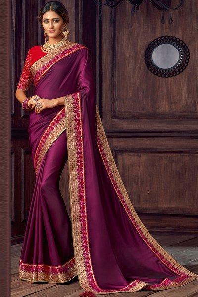 Dark Magenta Silk Saree With Red Blouse