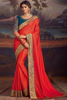 Reddish Orange Silk Saree With Teal Blue Zari Work Blouse