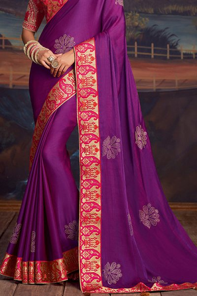 Purple Silk Saree with Pink Embroidered Blouse