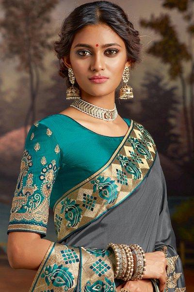 Grey Embroidered Silk Saree