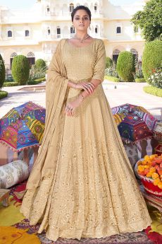 Ready to Wear Beige Floor Length Anarkali Suit