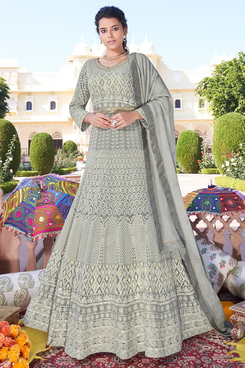 Ready to Wear Grey Embroidered Floor Length Anarkali Suit