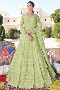 Ready to Wear Pistachio Green Embroidered Anarkali Suit
