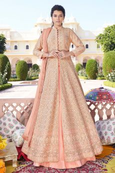 Peach Jacket Style Embroidered Anarkali Lehenga Suit