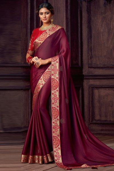 Wine Silk Saree With Red Zari Work Blouse